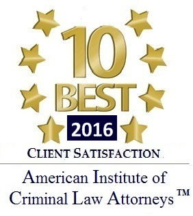 10 Best Award - American Institute of Criminal Law Attorneys for 2016 in Client Satisfaction Badge | Joyner and Joyner – Texas Law Firm